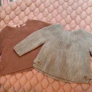 Two Zara baby knitwear sweaters 6-9mo